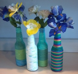 The Art Base & flower vase using recycled materials Inspirational Yarn ...